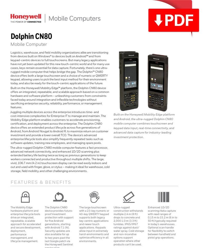 Honeywell Dolphin CN80 Mobile Computer datasheet.