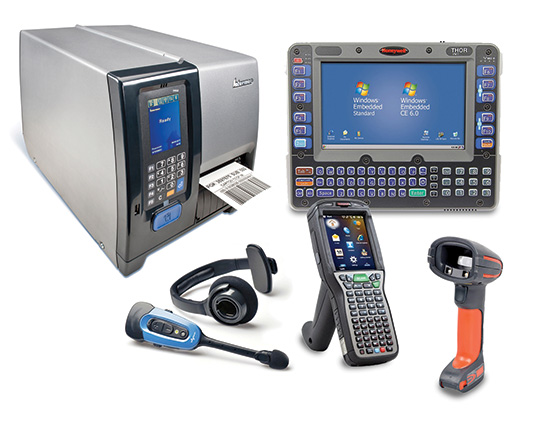 An assortment of Honeywell distribution center scanning and printing devices.