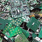 Circuit boards awaiting recycling